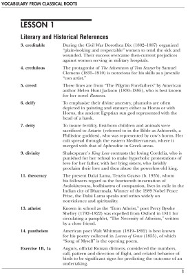 Vocabulary From Classical Roots D, Teacher's Guide