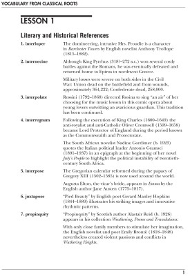 Vocabulary From Classical Roots E, Teacher's Guide
