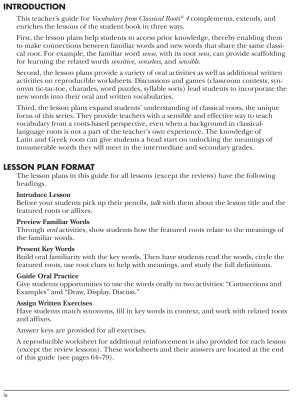 Vocabulary From Classical Roots 4, Teacher's Guide